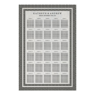 Black+White Seigaiha Wedding/Event Seating Chart Poster