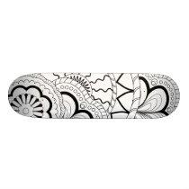 black&white sends them pattern skateboard deck