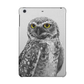 Black & White Serious Big Eyed Owl iPad Mini Case