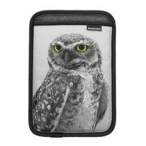 Black & White Serious Big Eyed Owl iPad Mini iPad Mini Sleeve