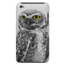 Black & White Serious Big Eyed Owl iPod Touch Case
