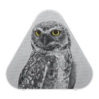 Black & White Serious Big Eyed Owl Speakers Bluetooth Speaker