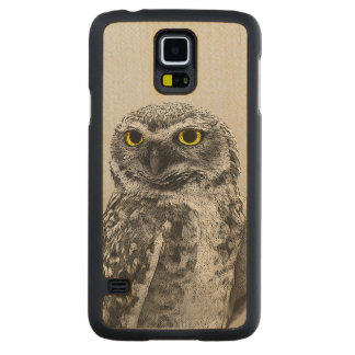 Black & White Serious Big Eyed Owl Wood Carved® Maple Galaxy S5 Case