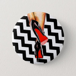 Black White Sexy Red Bottom Shoes Heels Fashion Button