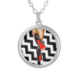Black White Sexy Red Bottom Shoes Heels Fashion Silver Plated Necklace