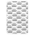 Black & White Ships Pattern Nautical Themed Boats Magnet