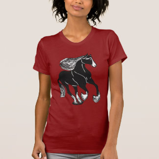 Black White Shire Horse Women's T-Shirt, Cranberry T Shirt