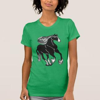 Black White Shire Horse Women's T-Shirt, Green Tee Shirt