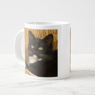 Black & white short-haired kitten on hamper lid, 20 oz large ceramic coffee mug