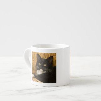 Black & white short-haired kitten on hamper lid, 6 oz ceramic espresso cup