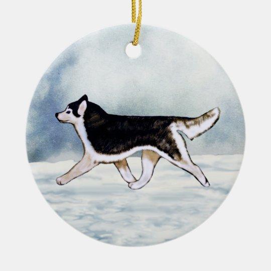 Black White Siberian Husky Ornament Customizable!