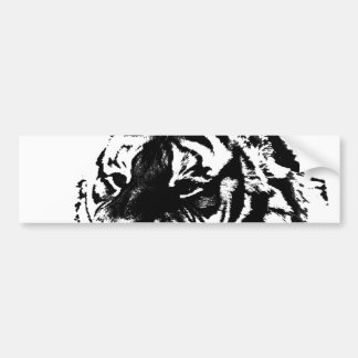 Black & White Siberian Tiger Bumper Sticker Car Bumper Sticker
