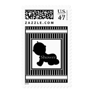Black & White Silhouette Baby Shower Stamps