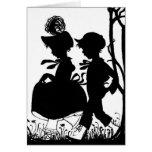 Black & White Silhoutte Children Greeting Card
