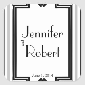 Black White Silver Art Deco Frame Envelope Seal Square Sticker
