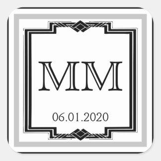 Black White Silver Art Deco Frame Monogram Sticker
