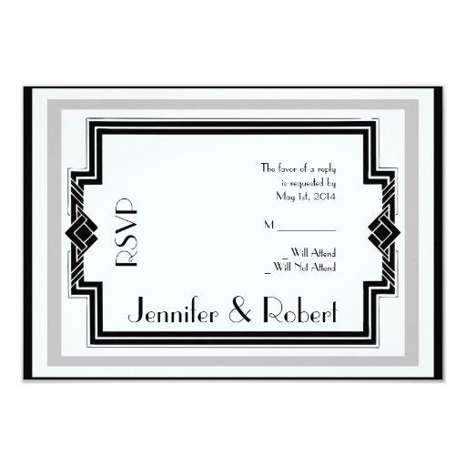 Black White Silver Art Deco Frame Response Card