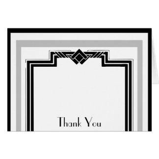 Black White Silver Art Deco Frame Thank You Card