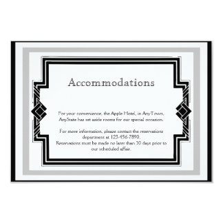 Black White Silver Art Deco Frame Wedding Insert Card