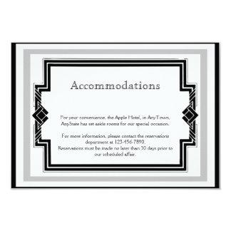 Black White Silver Art Deco Frame Wedding Insert Custom Invites