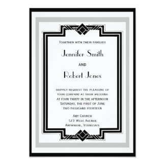 "Black White Silver Art Deco Frame Wedding 5"" X 7"" Invitation Card"