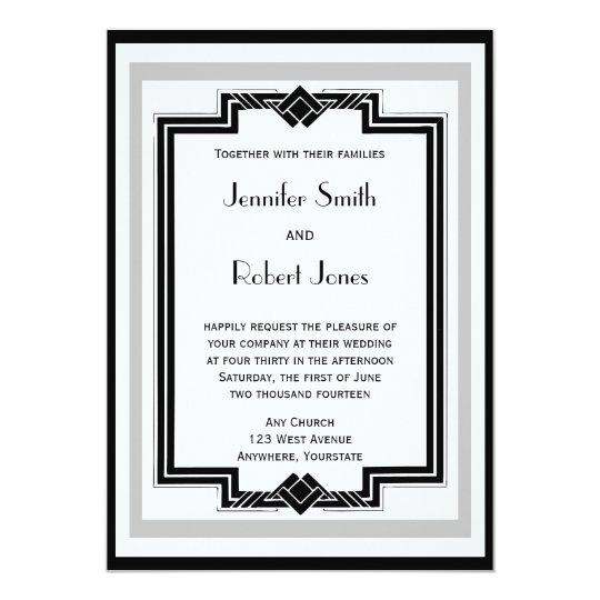 Black White Silver Art Deco Frame Wedding Invitation | Zazzle.com