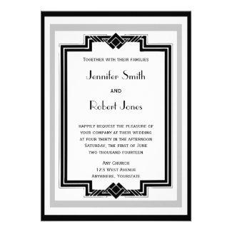 Black White Silver Art Deco Frame Wedding Invites