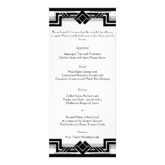 Black White Silver Art Deco Frame Wedding Menu