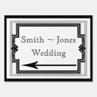 Black White Silver Art Deco Wedding Direction Sign
