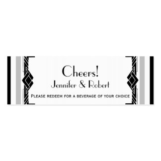 Black White Silver Art Deco Wedding Drink Tickets Mini Business Card