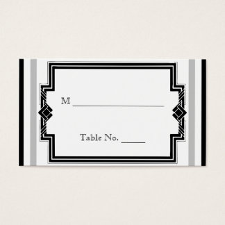 Black White Silver Art Deco Wedding Place Cards