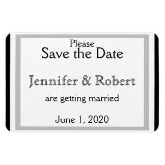 Black White Silver Art Deco Wedding Save the Date Rectangular Photo Magnet