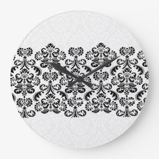 Black White Silver Damask Lace G203 Round Wall Clock
