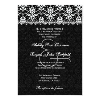 Black White Silver Damask Lace Wedding Recycled Card