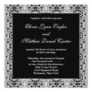 Black White Silver Lace Wedding Announcements