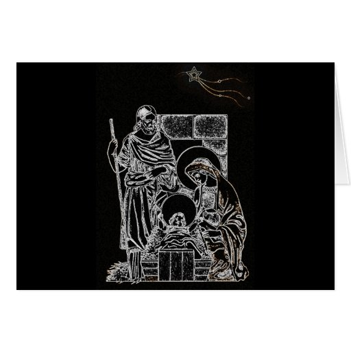 black white silver nativity card