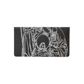 black white silver nativity checkbook cover