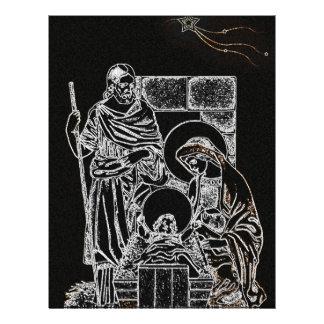 black white silver nativity full color flyer