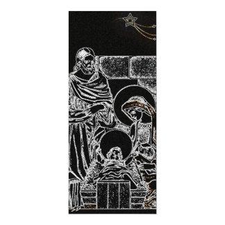 black white silver nativity invitation tall