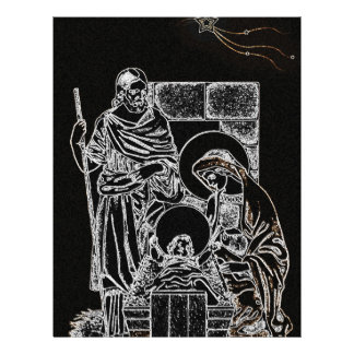 black white silver nativity letterhead