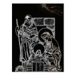 black white silver nativity post cards