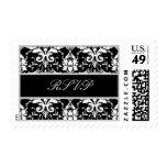 Black White Silver Ornate Scroll Wedding RSVP Postage Stamp
