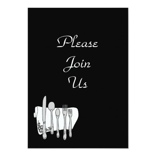 Black White Silverware Custom Invitation Template