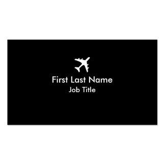Black white simple airplane custom business cards