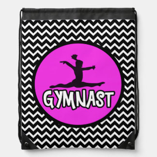 Black/White Simple Chevron Gymnast Backpack