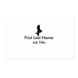 Black white simple mermaid custom business cards