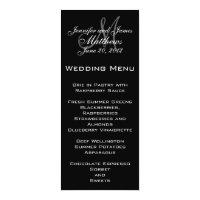 Black White Simple Monogram Wedding Menu Card