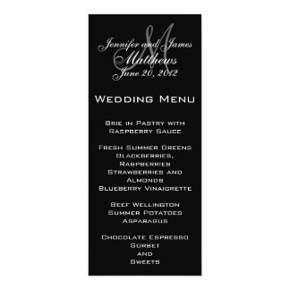 Black White Simple Monogram Wedding Menu Card