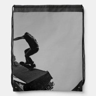 Black & White Skate Park Drawstring Bag