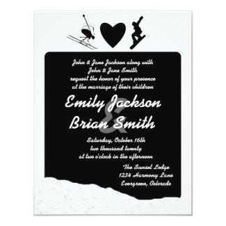 Black white ski snowboarder custom wedding invites